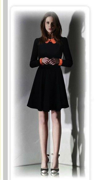 2013春裝新款歐美風 娃娃領雪紡修身連衣裙