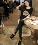 2013新款韓版 寬鬆大嘴唇印莫代爾萊卡棉半袖短袖T卹