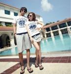 2013新款夏裝 大碼休閒沙灘短袖T恤短褲情侶套裝