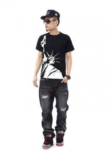 AK 自由女神手槍短袖T恤 嘻哈Hiphop街舞dance 圓領短袖T恤